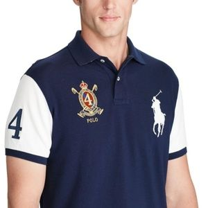Custom Slim Fit Big Pony Gold Crest Polo Shirt #4